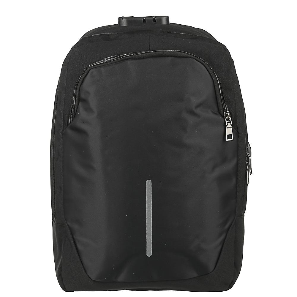 Рюкзак подростковый, 42x29x11см, ПЭ, 2отд,1карм, спинка с эргон.элем,мет.ручка,код.замок,USB,черный - 2