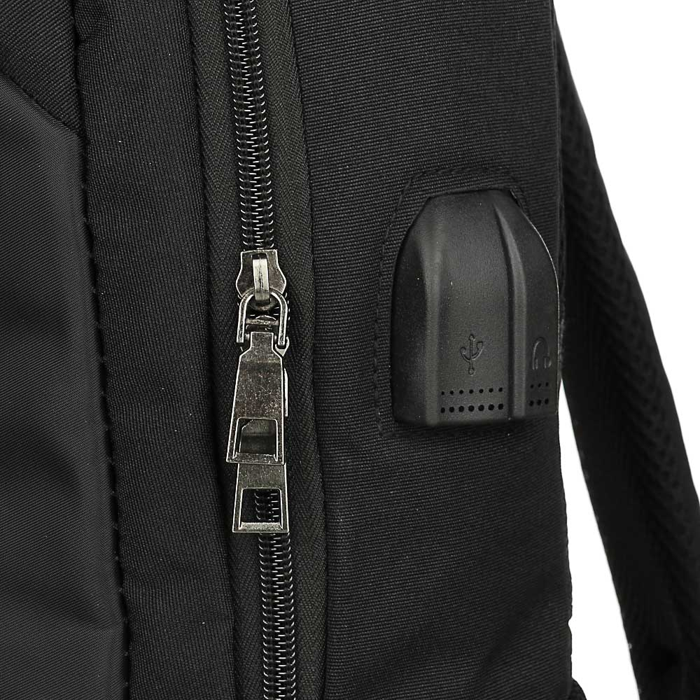 Рюкзак подростковый, 42x29x11см, ПЭ, 2отд,1карм, спинка с эргон.элем,мет.ручка,код.замок,USB,черный - 5