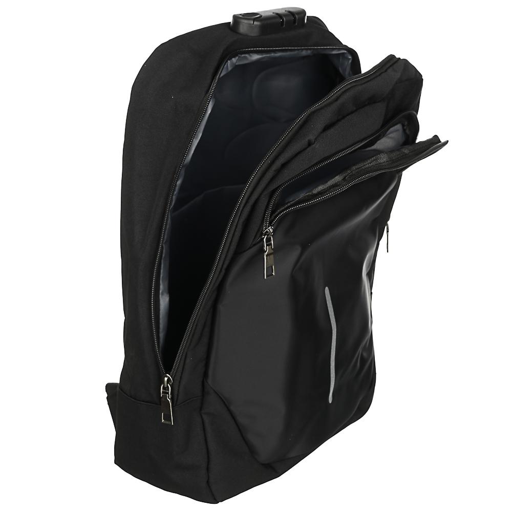 Рюкзак подростковый, 42x29x11см, ПЭ, 2отд,1карм, спинка с эргон.элем,мет.ручка,код.замок,USB,черный - 7