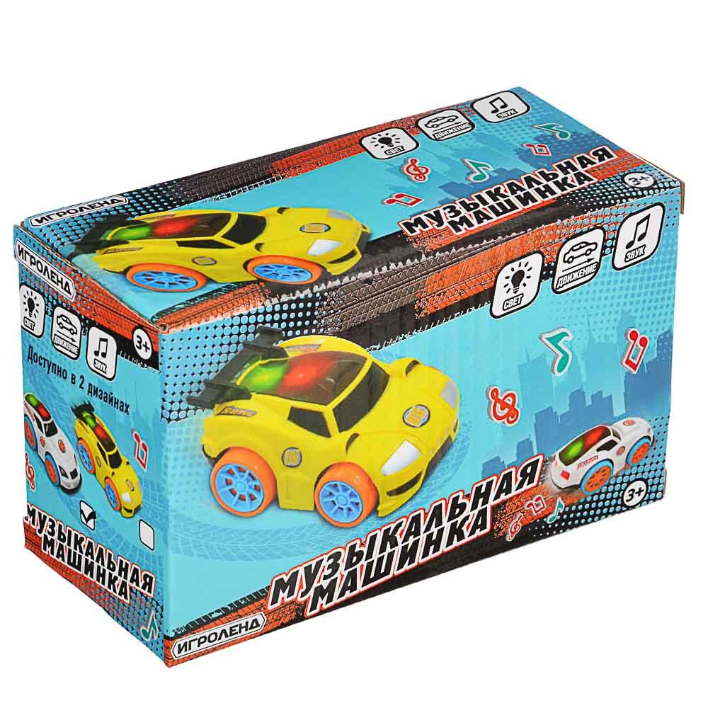 ИГРОЛЕНД Машинка музыкальная, свет, звук, движение, 3АА, ABS, 8,5х6х14,5см, 2 дизайна - 5