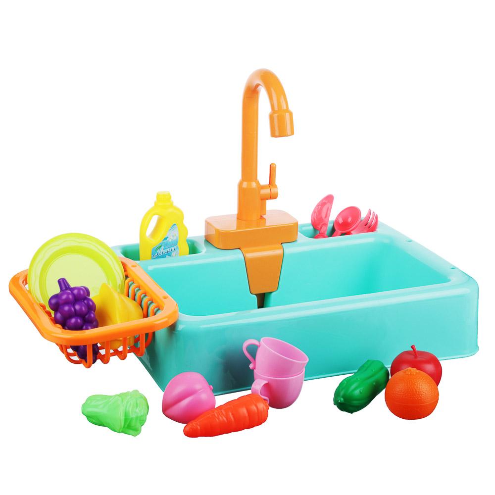 ИГРОЛЕНД Раковина, посуда, продукты, функция вода, 2хАА, PVC, ABS, 19 пр., 34х24х9 см, 4 дизайна - 2