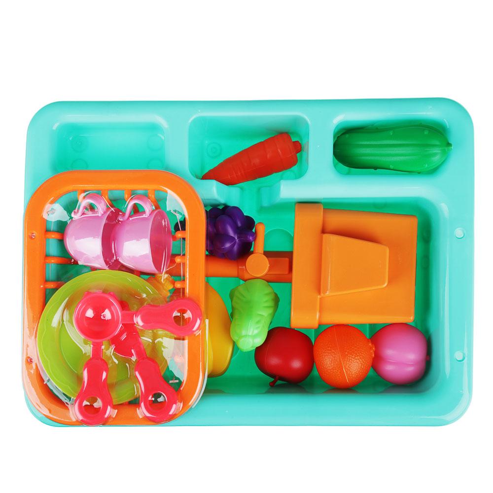 ИГРОЛЕНД Раковина, посуда, продукты, функция вода, 2хАА, PVC, ABS, 19 пр., 34х24х9 см, 4 дизайна - 3