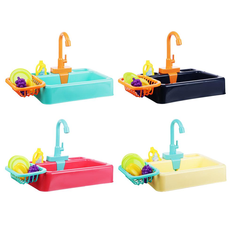 ИГРОЛЕНД Раковина, посуда, продукты, функция вода, 2хАА, PVC, ABS, 19 пр., 34х24х9 см, 4 дизайна - 4