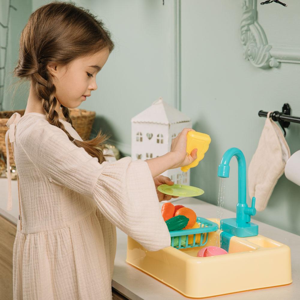 ИГРОЛЕНД Раковина, посуда, продукты, функция вода, 2хАА, PVC, ABS, 19 пр., 34х24х9 см, 4 дизайна - 7