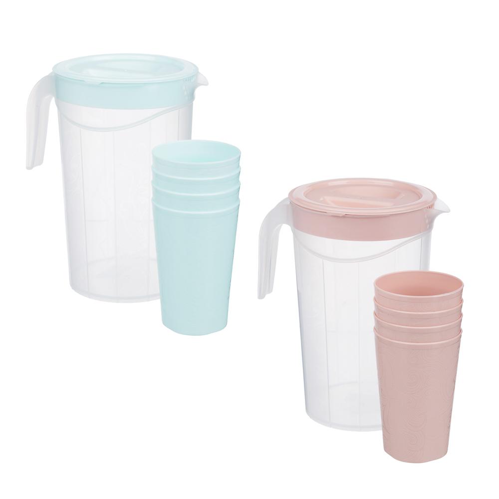 Набор посуды, 6 пр.: кувшин 2л, стаканы 4шт 0,33л, пластик, 2 цвета - 2