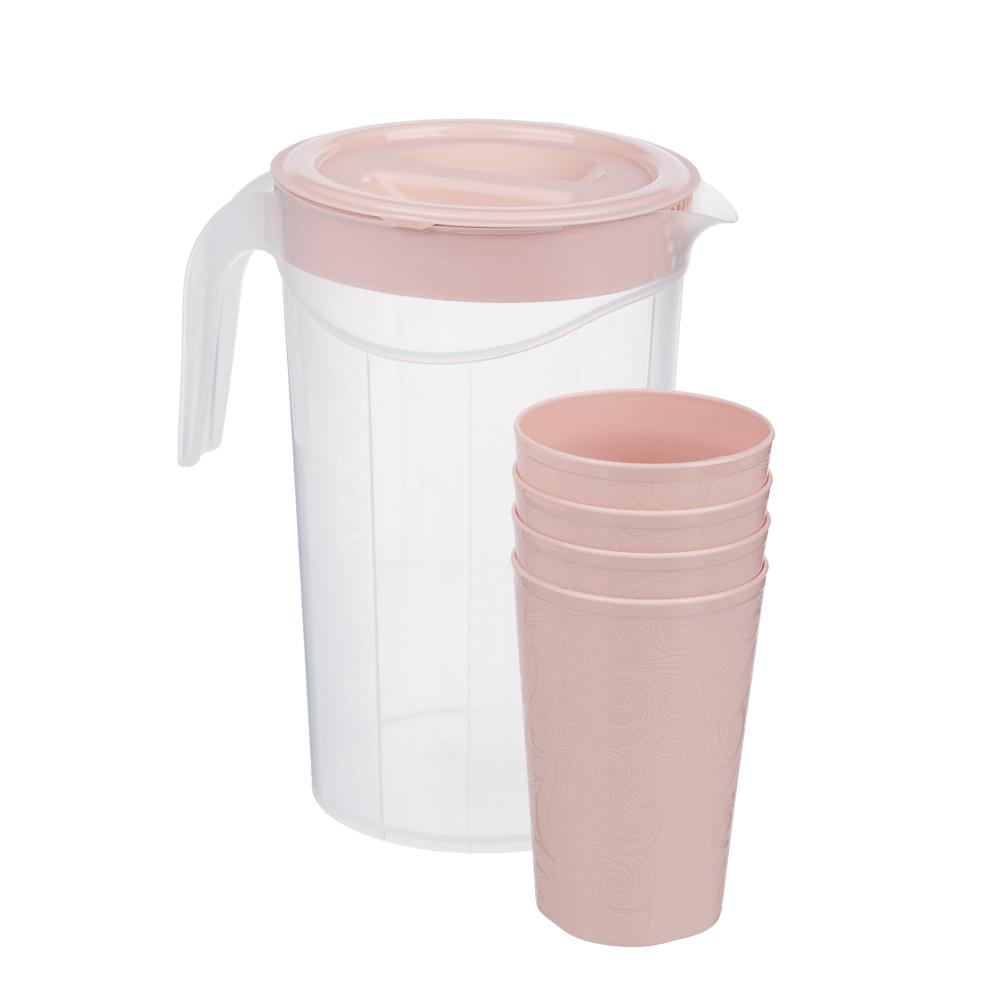 Набор посуды, 6 пр.: кувшин 2л, стаканы 4шт 0,33л, пластик, 2 цвета - 3