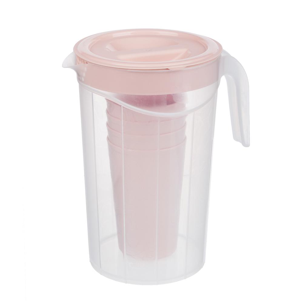 Набор посуды, 6 пр.: кувшин 2л, стаканы 4шт 0,33л, пластик, 2 цвета - 4
