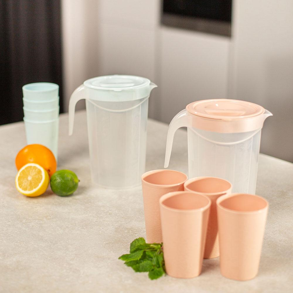 Набор посуды, 6 пр.: кувшин 2л, стаканы 4шт 0,33л, пластик, 2 цвета - 7