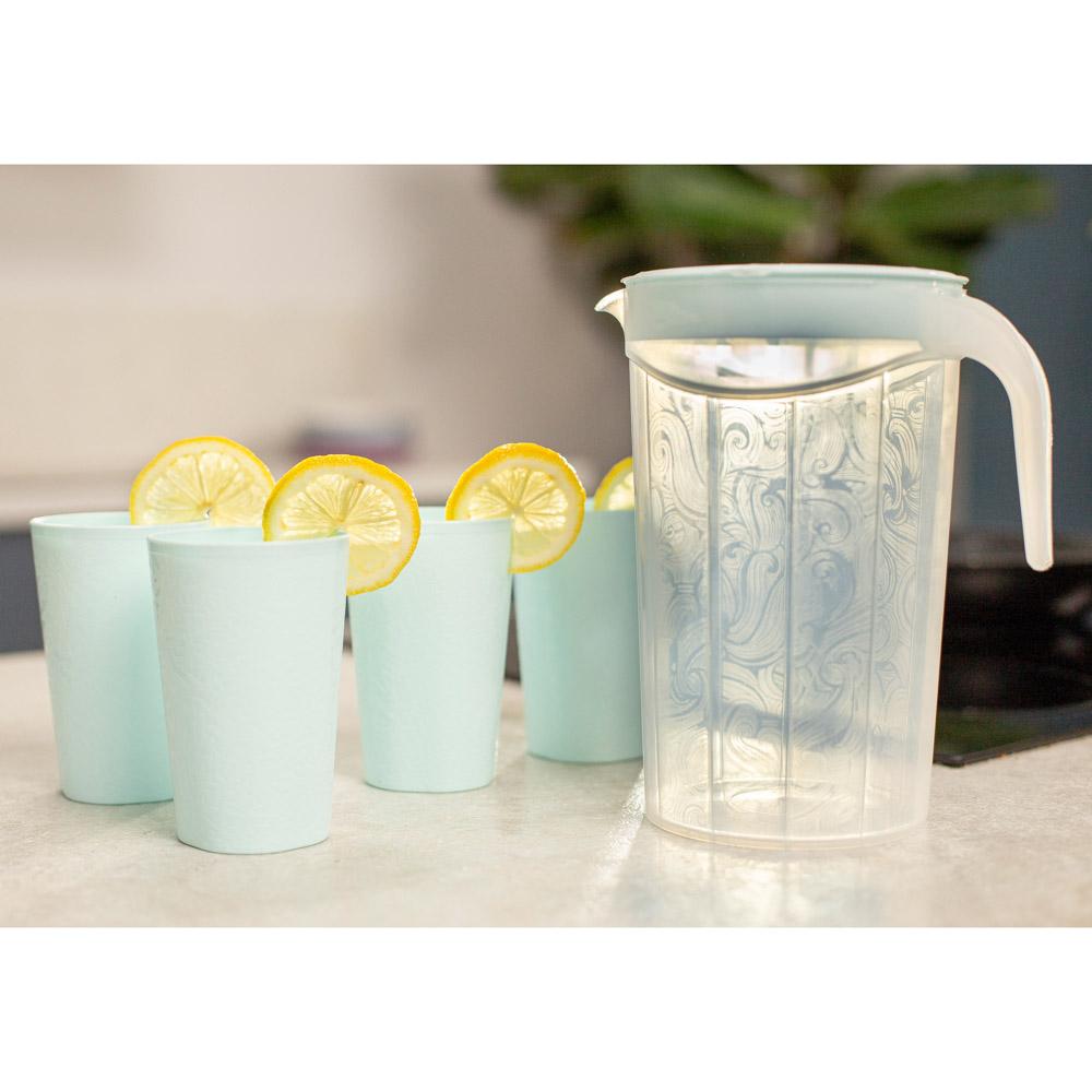 Набор посуды, 6 пр.: кувшин 2л, стаканы 4шт 0,33л, пластик, 2 цвета - 8