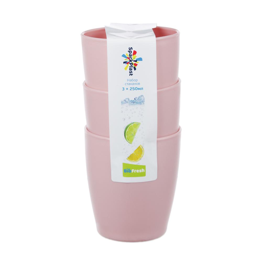 Набор стаканов 0,25л, 3шт, пластик, 2 цвета - 4