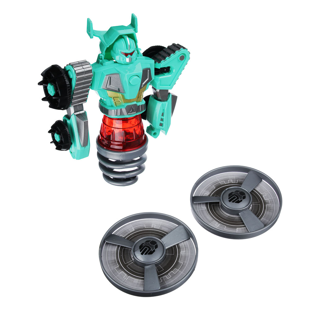 """ИГРОЛЕНД Игрушка """"запускалка"""" в виде трансформирующ. робота,волчок, диск, свет, ABS, 21,6х30х5см - 4"""