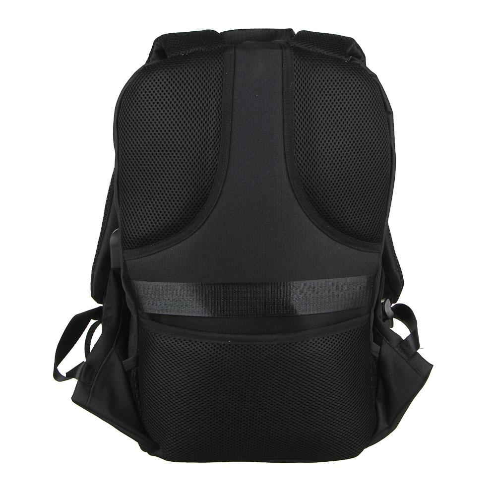 BY Рюкзак подростковый, 49х30х14см, 1 отд., 1 карм., эргономичная спинка, USB, полиэстер, черный - 4