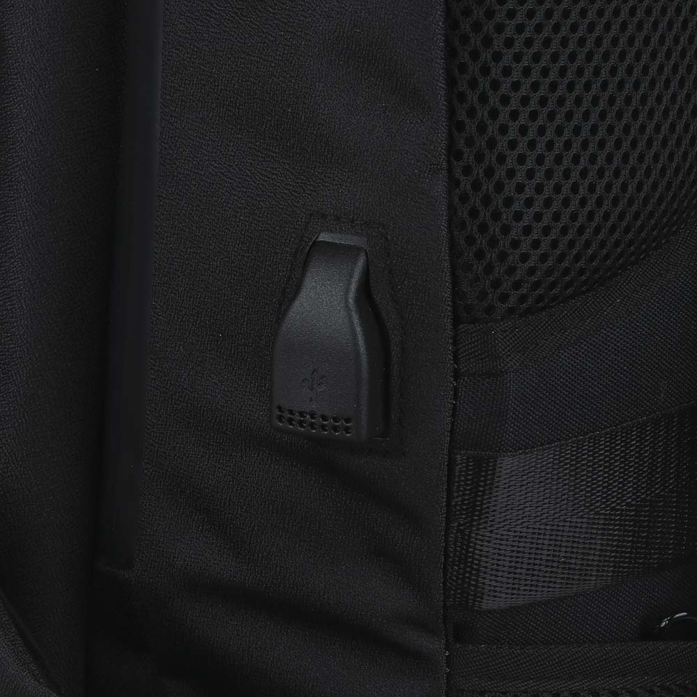 BY Рюкзак подростковый, 49х30х14см, 1 отд., 1 карм., эргономичная спинка, USB, полиэстер, черный - 5