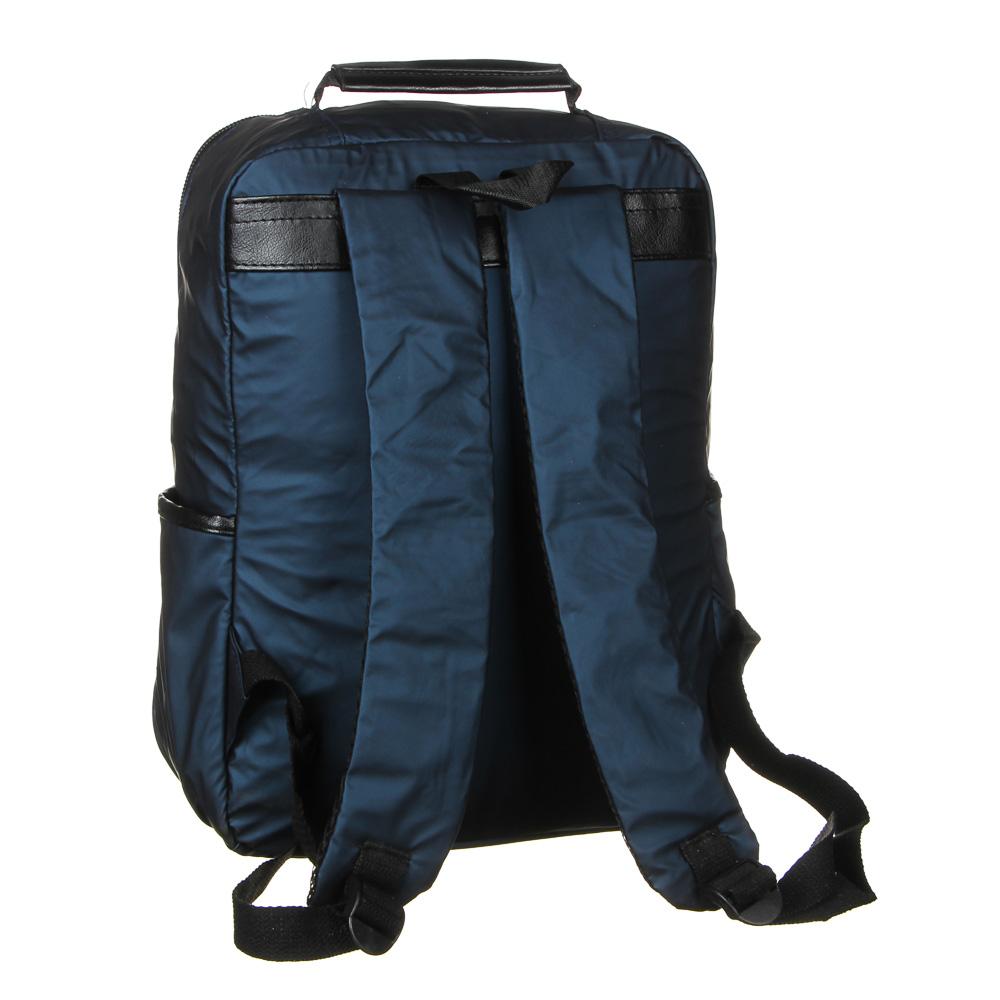Рюкзак подростковый, 39,5x28x11см, 1 отд, 4 карм, многослойный водоотталк.нейлон, иск.кожа, 3 цвета - 4