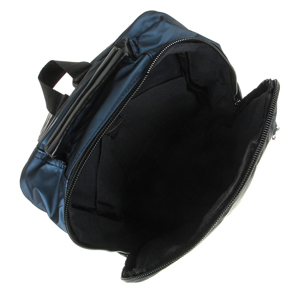Рюкзак подростковый, 39,5x28x11см, 1 отд, 4 карм, многослойный водоотталк.нейлон, иск.кожа, 3 цвета - 6