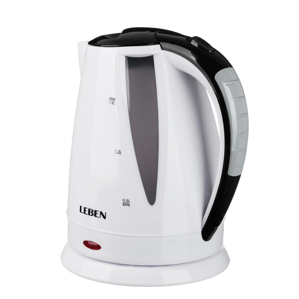 LEBEN Чайник электрический 1,8л, 1500Вт, 220-240В, 50Гц., пластик 291-083 - 4