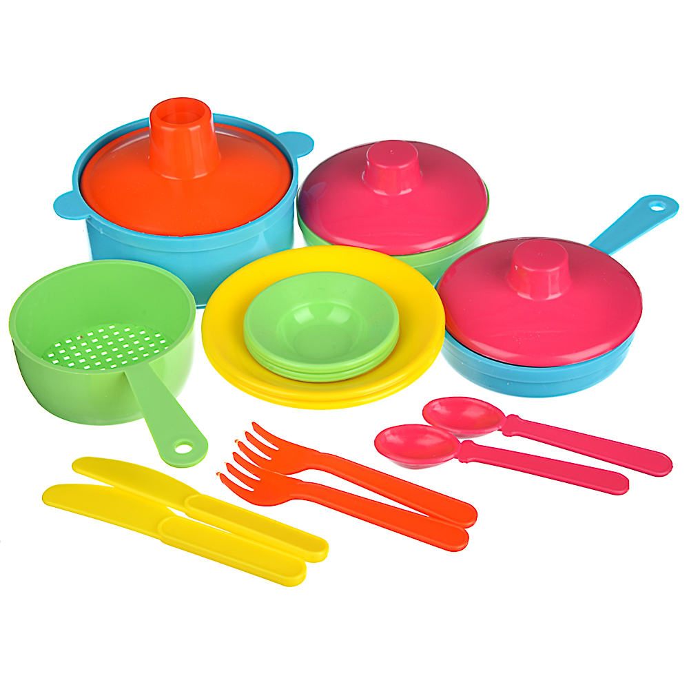 ИГРОЛЕНД Набор посуды в сетке, 6-18 пр., пластик, 25х12х10см, 5 дизайнов - 2