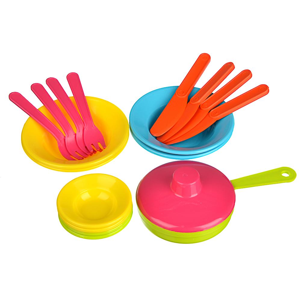 ИГРОЛЕНД Набор посуды в сетке, 6-18 пр., пластик, 25х12х10см, 5 дизайнов - 4