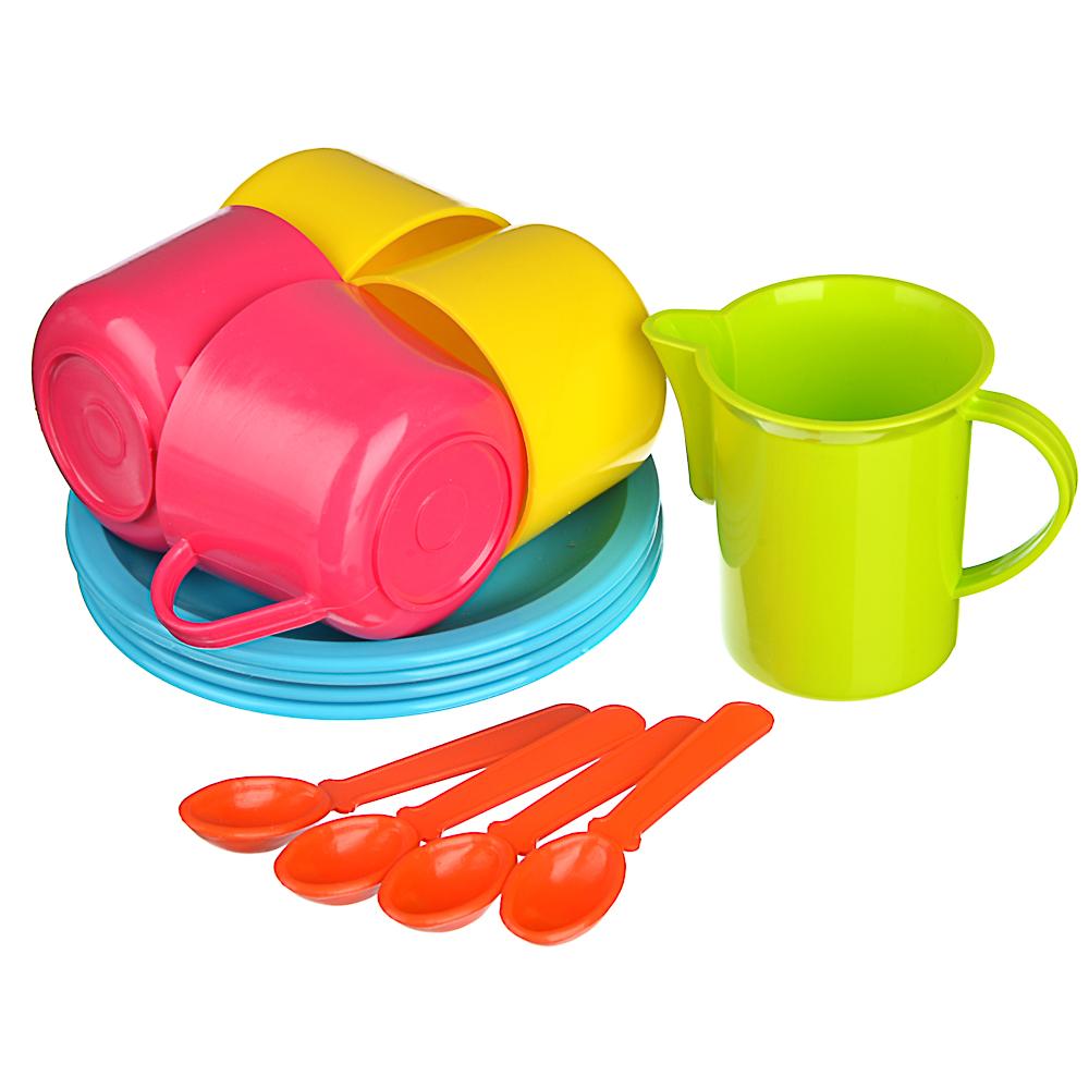 ИГРОЛЕНД Набор посуды в сетке, 6-18 пр., пластик, 25х12х10см, 5 дизайнов - 5