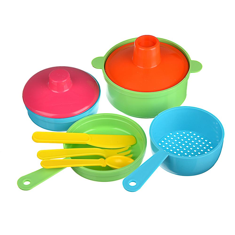 ИГРОЛЕНД Набор посуды в сетке, 6-18 пр., пластик, 25х12х10см, 5 дизайнов - 6