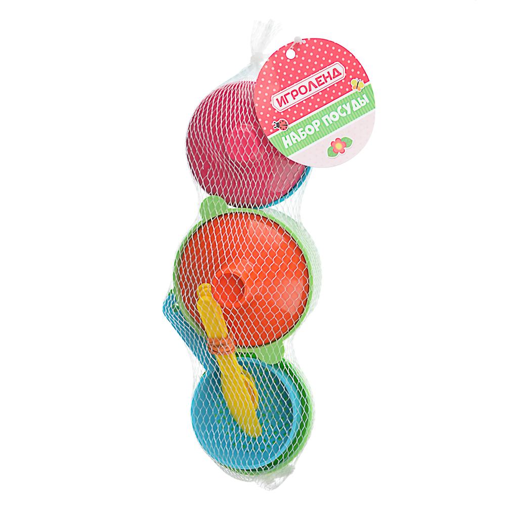 ИГРОЛЕНД Набор посуды в сетке, 6-18 пр., пластик, 25х12х10см, 5 дизайнов - 7