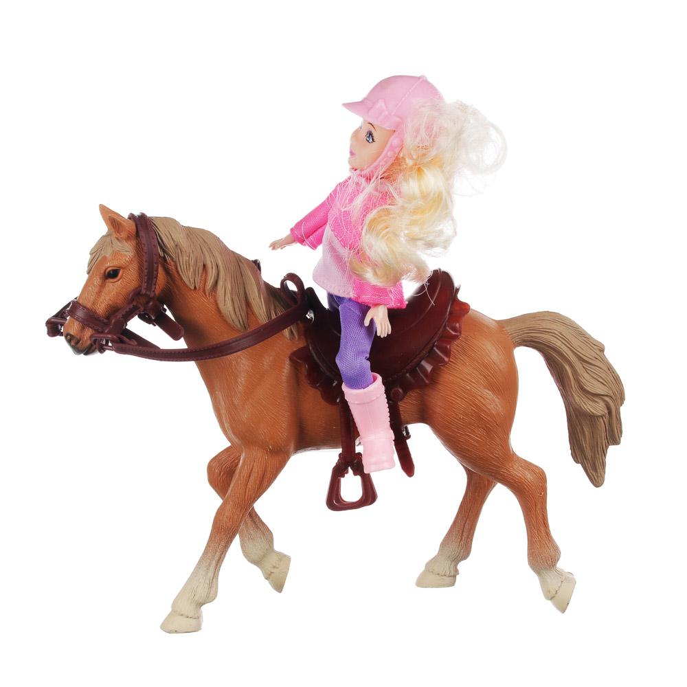 ИГРОЛЕНД Кукла шарнирная в виде наездницы с лошадкой, ПВХ, РР, 23,3x10x23,5см - 2