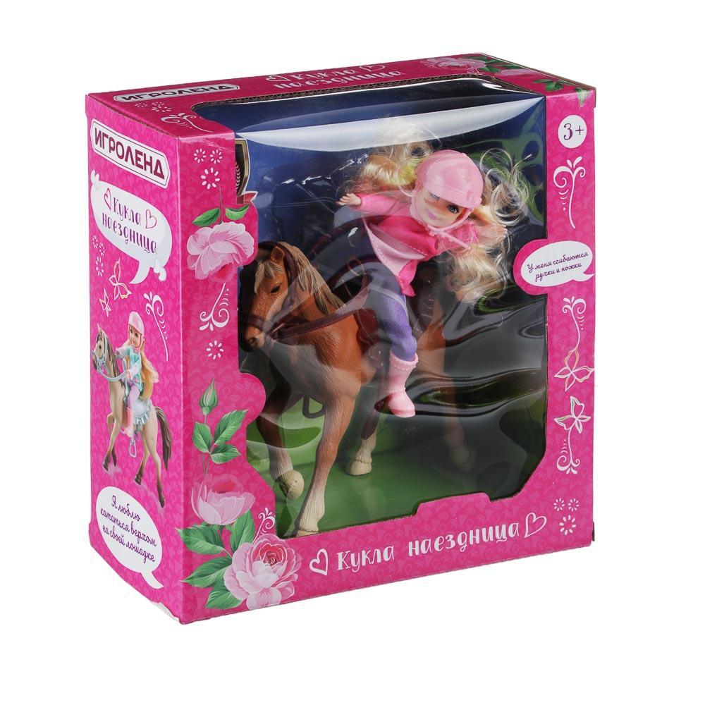 ИГРОЛЕНД Кукла шарнирная в виде наездницы с лошадкой, ПВХ, РР, 23,3x10x23,5см - 3