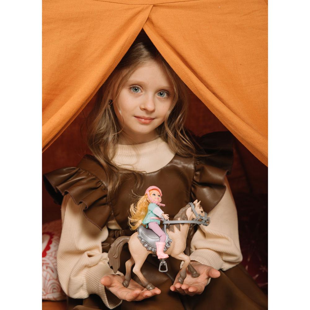 ИГРОЛЕНД Кукла шарнирная в виде наездницы с лошадкой, ПВХ, РР, 23,3x10x23,5см - 4