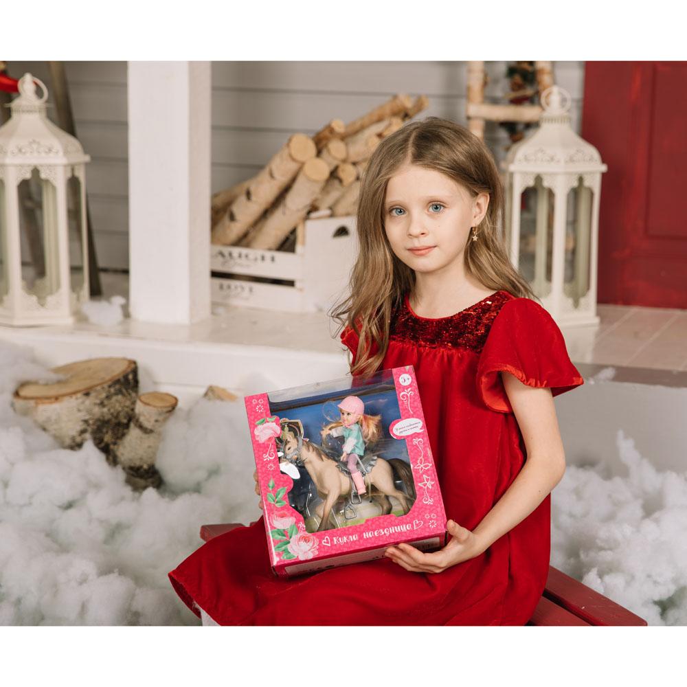 ИГРОЛЕНД Кукла шарнирная в виде наездницы с лошадкой, ПВХ, РР, 23,3x10x23,5см - 5