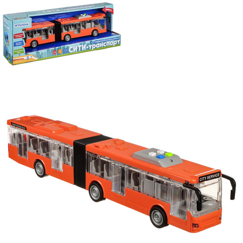 ИГРОЛЕНД Городской транспорт, ABS, 3хLR44, свет, звук, инерция, двери откр, 48х16,5х11,5см, 3 диз - 2