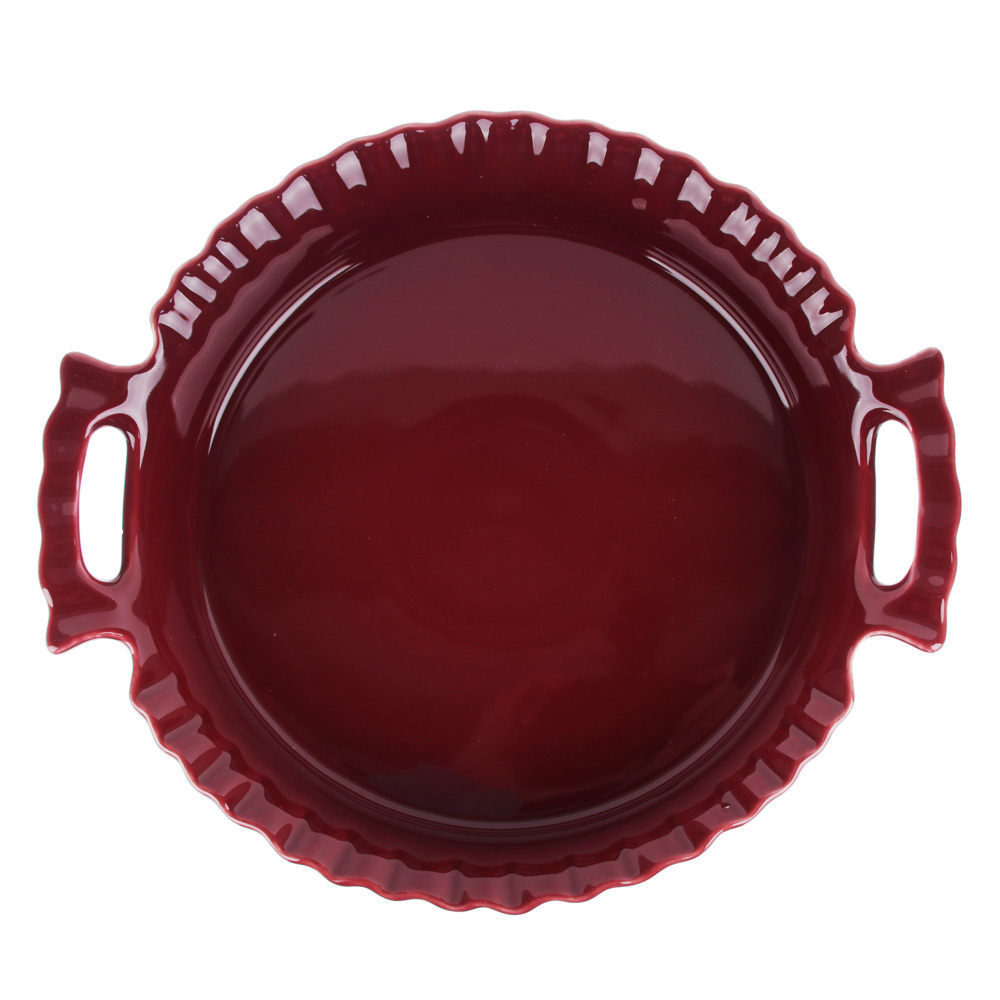 MILLIMI Форма для запекания и сервировки круглая с ручками, керамика, 25х22х5см, бордо - 2