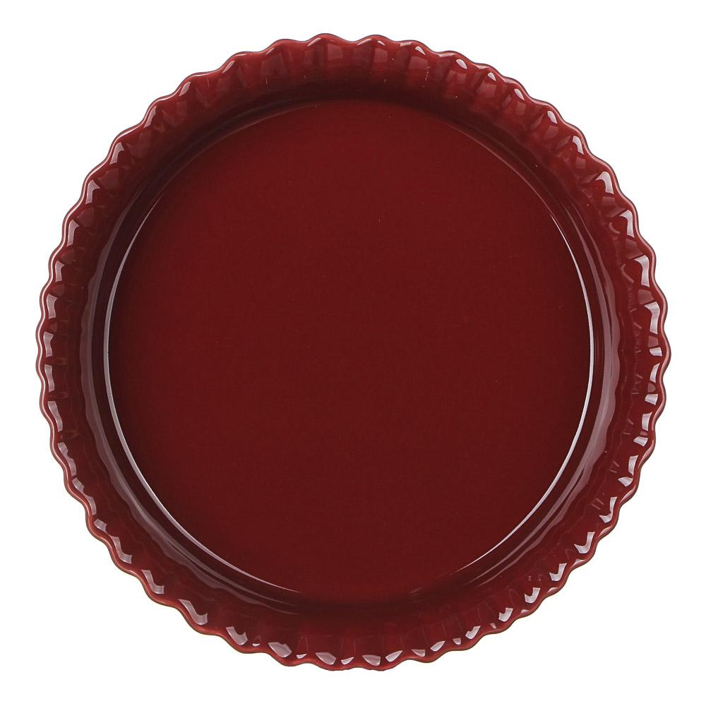 MILLIMI Форма для запекания и сервировки круглая, керамика, 22х4,5см, бордо - 2