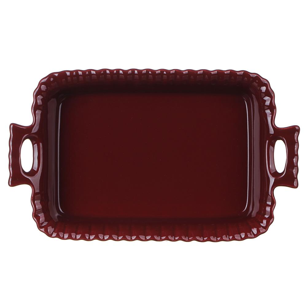 MILLIMI Форма для запекания и сервировки прямоугольная с ручками, керамика, 28х16,5х5см, бордо - 3