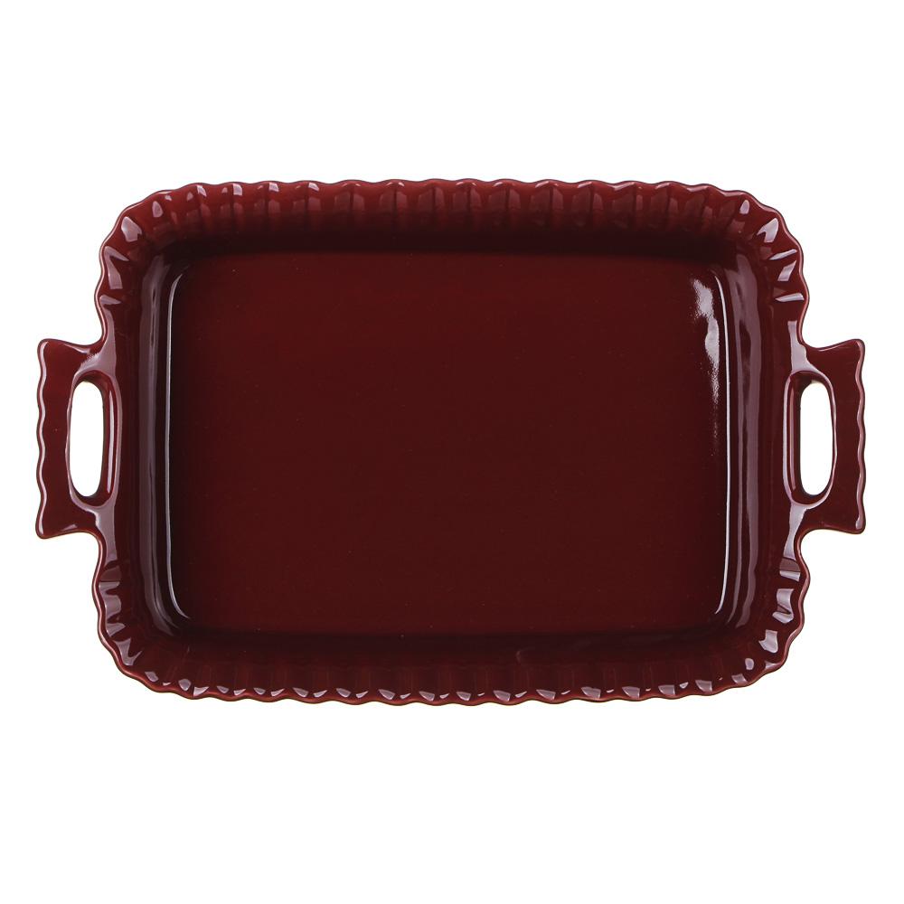 MILLIMI Форма для запекания и сервировки прямоугольная с ручками, керамика, 31х19х6см, бордо - 3
