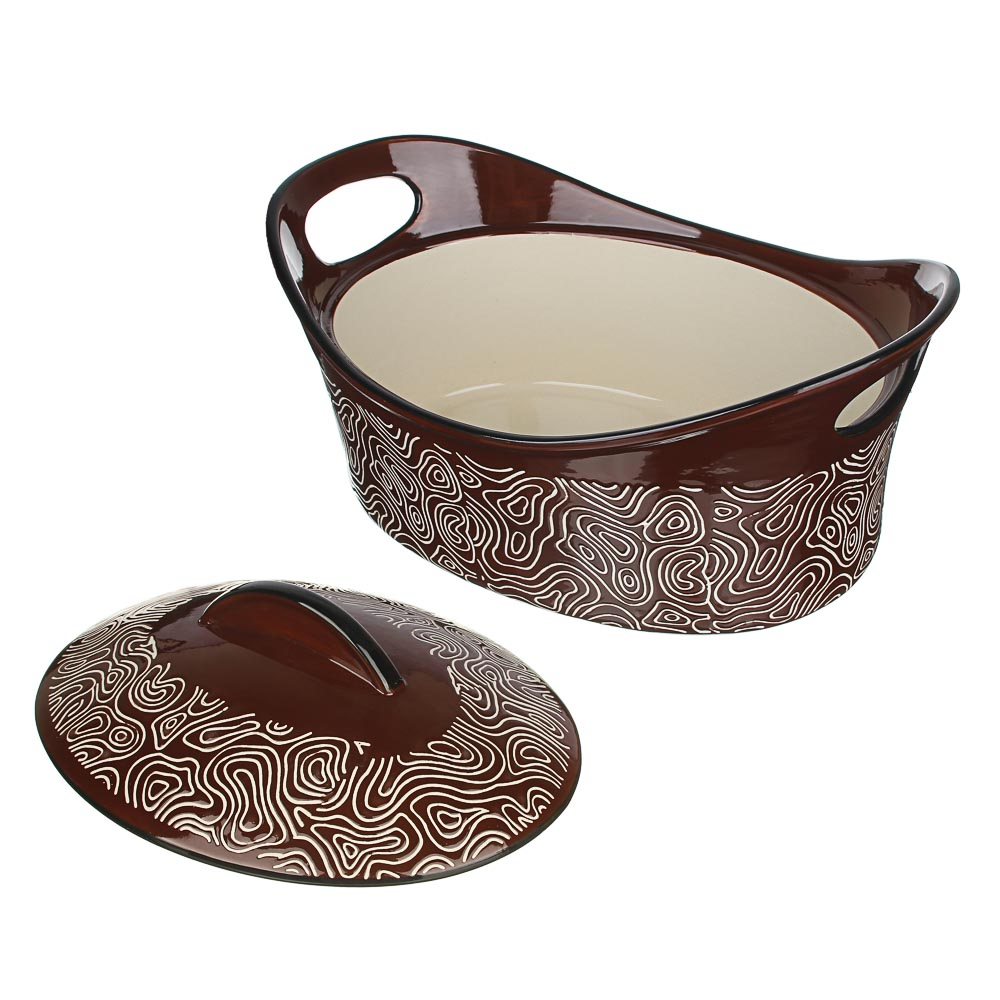 MILLIMI Утятница с крышкой, керамика, 31,5х21,5х14см, шоколад - 3