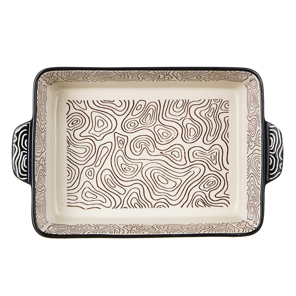 MILLIMI Форма для запекания и сервировки прямоугольная с ручками, керамика, 27,5х17,5х6см, шоколад - 3