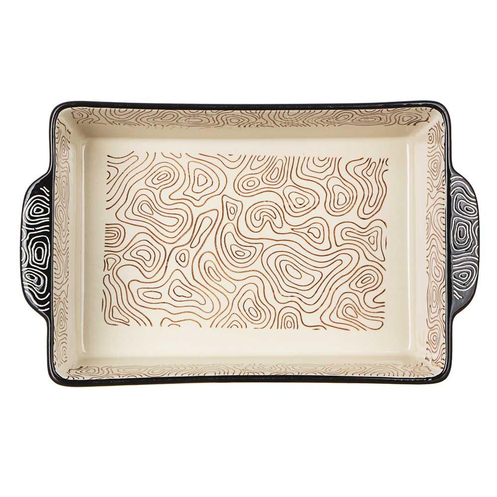 MILLIMI Форма для запекания и сервировки прямоугольная с ручками, керамика, 31х19,5х6,5см, шоколад - 3