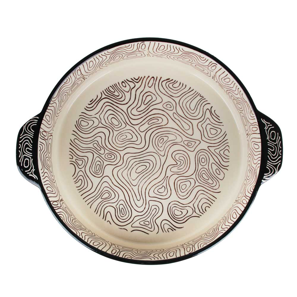 MILLIMI Форма для запекания и сервировки круглая с ручками, керамика, 29,5х25х6см, шоколад - 2