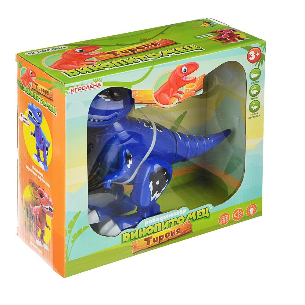"ИГРОЛЕНД Робот-динозавр ""Динопитомец Тироня"" звук, свет, движ., ABS, 3АА, 26х20,5х10см, 2 цвета - 3"