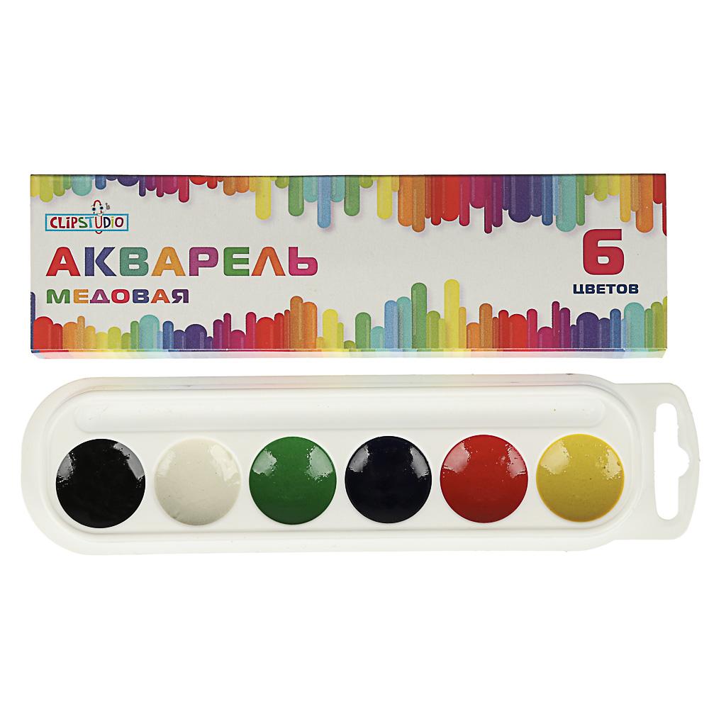 Краски акварельные медовые, 6 цветов, без кисточки, в картонной упаковке - 2