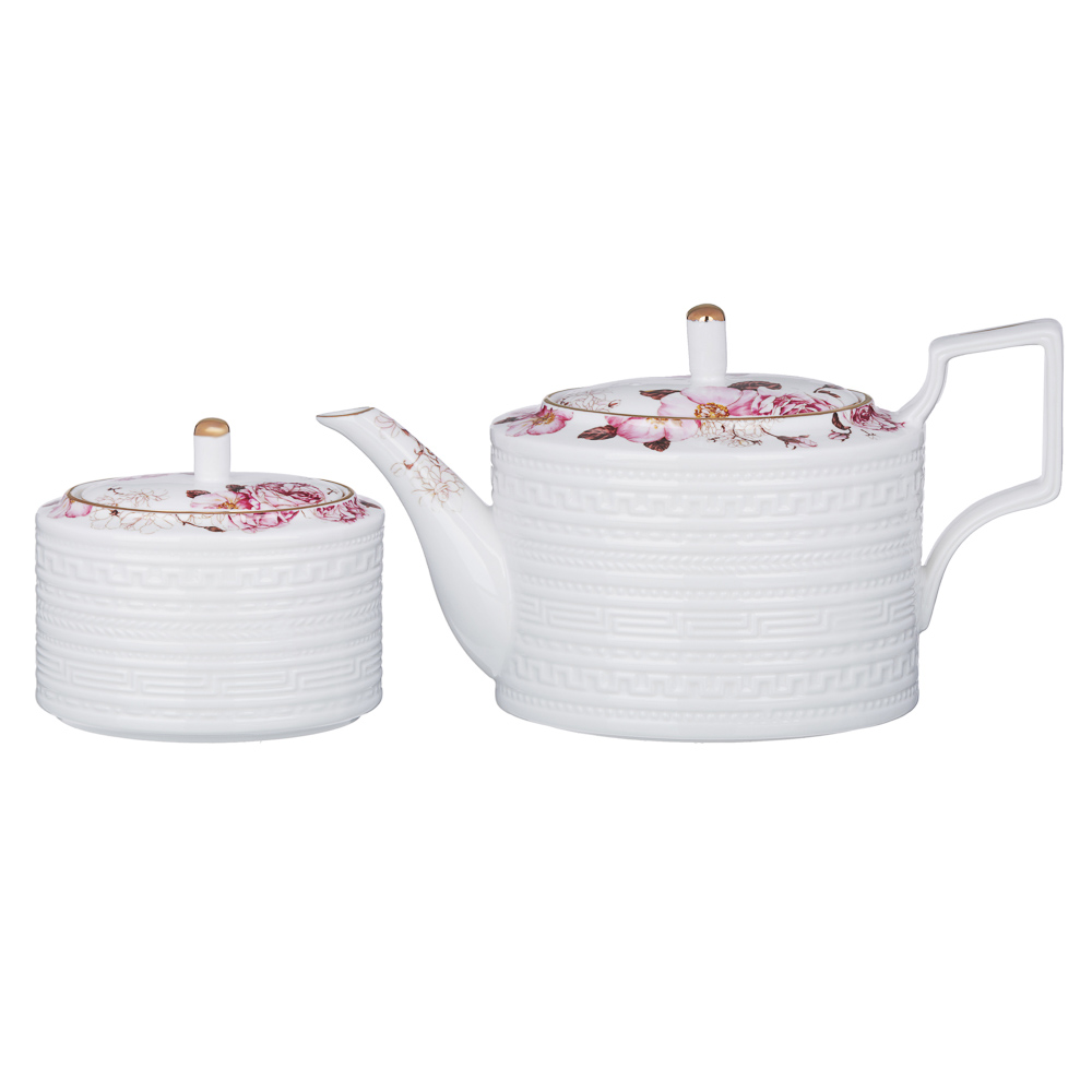MILLIMI Роскошь Набор чайный 14 пр., чашка 290мл, чайник 1150мл, сахарница 380мл, кост. фрф - 4