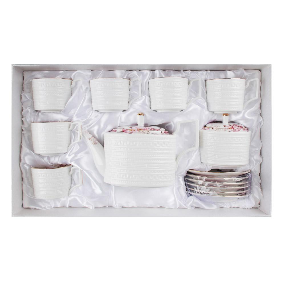 MILLIMI Роскошь Набор чайный 14 пр., чашка 290мл, чайник 1150мл, сахарница 380мл, кост. фрф - 5