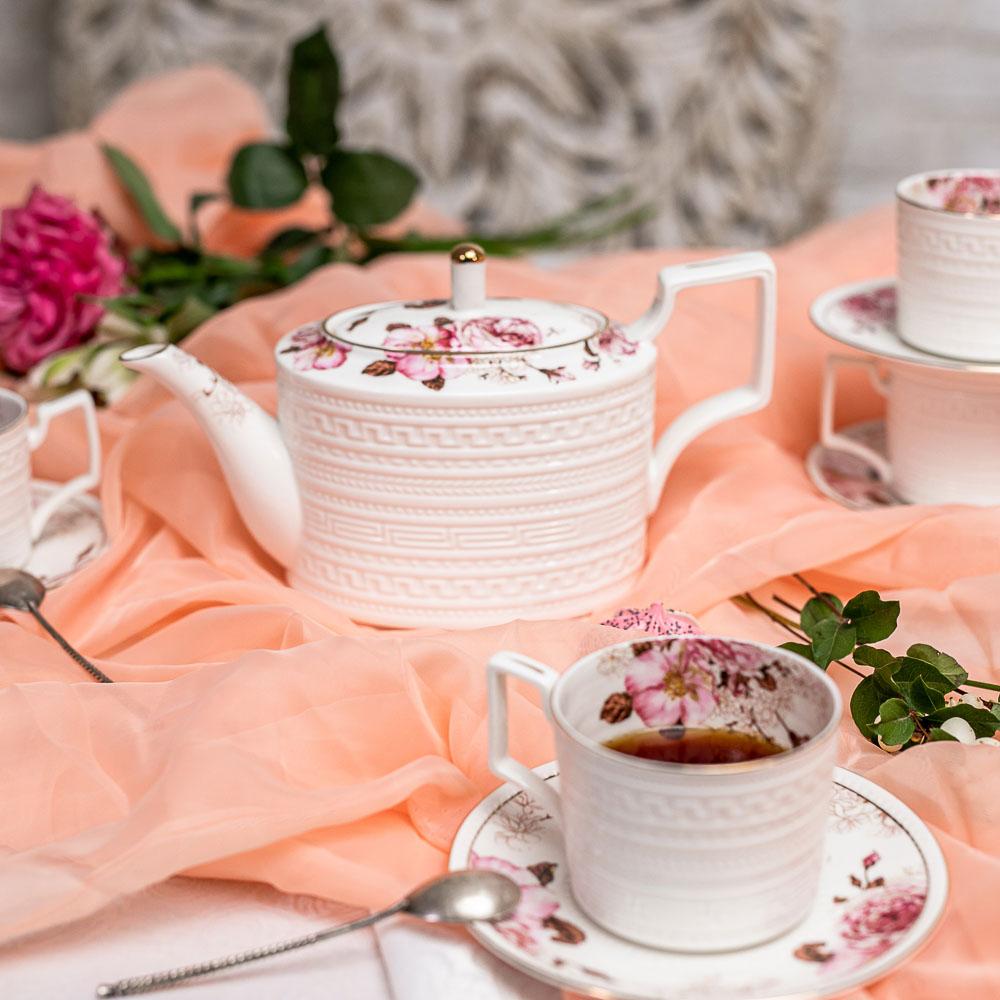 MILLIMI Роскошь Набор чайный 14 пр., чашка 290мл, чайник 1150мл, сахарница 380мл, кост. фрф - 7