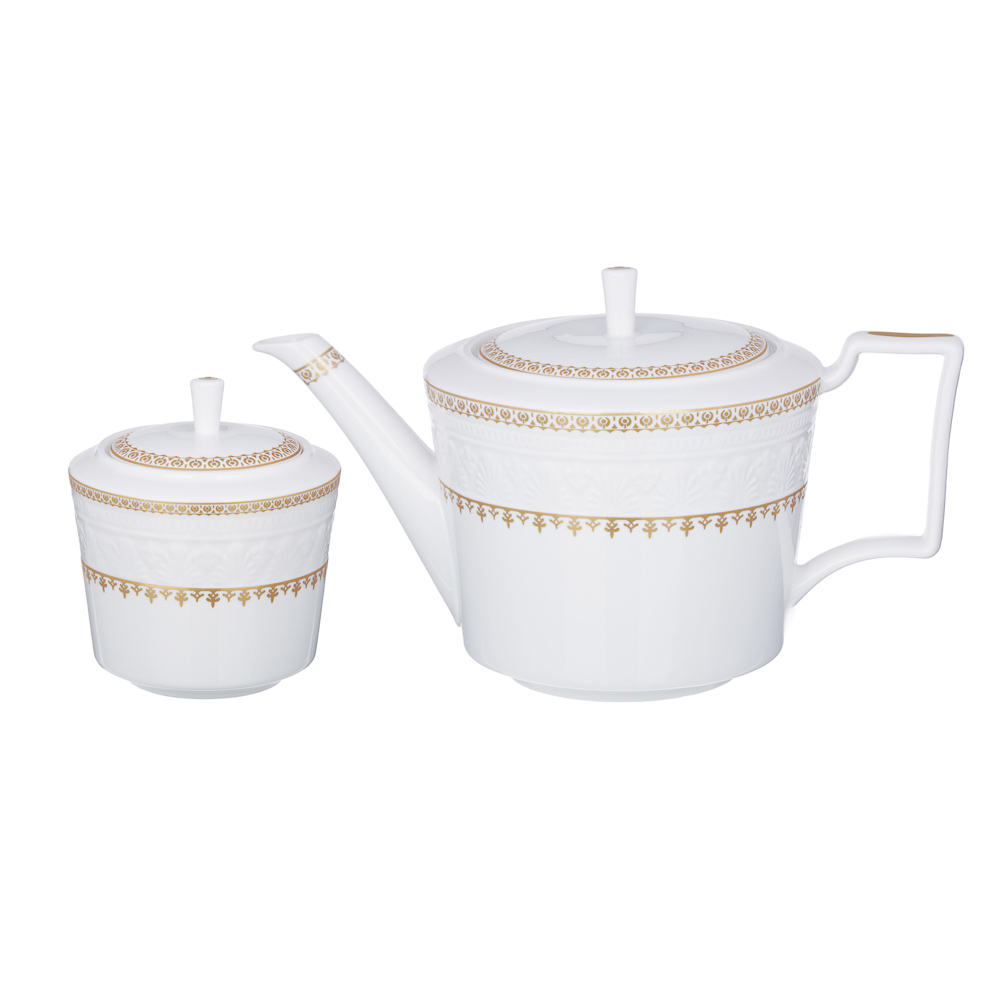 MILLIMI Наполеон Набор чайный 14 пр., чашка 300мл, чайник 1250мл, сахарница 350мл, кост. фрф - 4