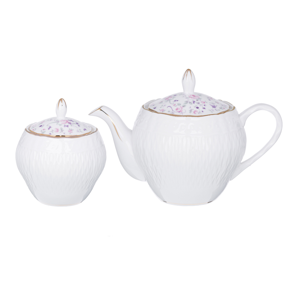 MILLIMI Пастораль Набор чайный 14 пр., чашка 250мл, чайник 900мл, сахарница 280 мл, кост. фрф - 4