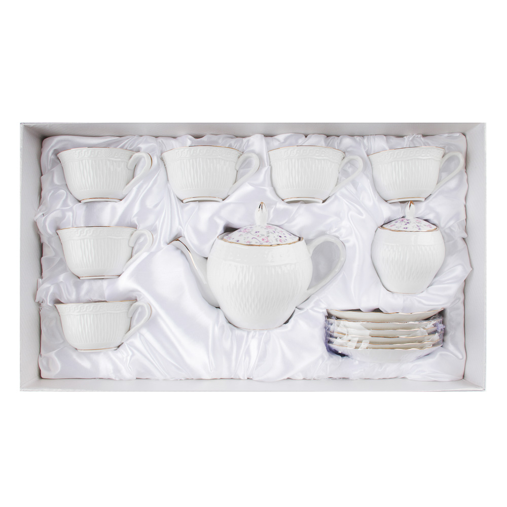 MILLIMI Пастораль Набор чайный 14 пр., чашка 250мл, чайник 900мл, сахарница 280 мл, кост. фрф - 5