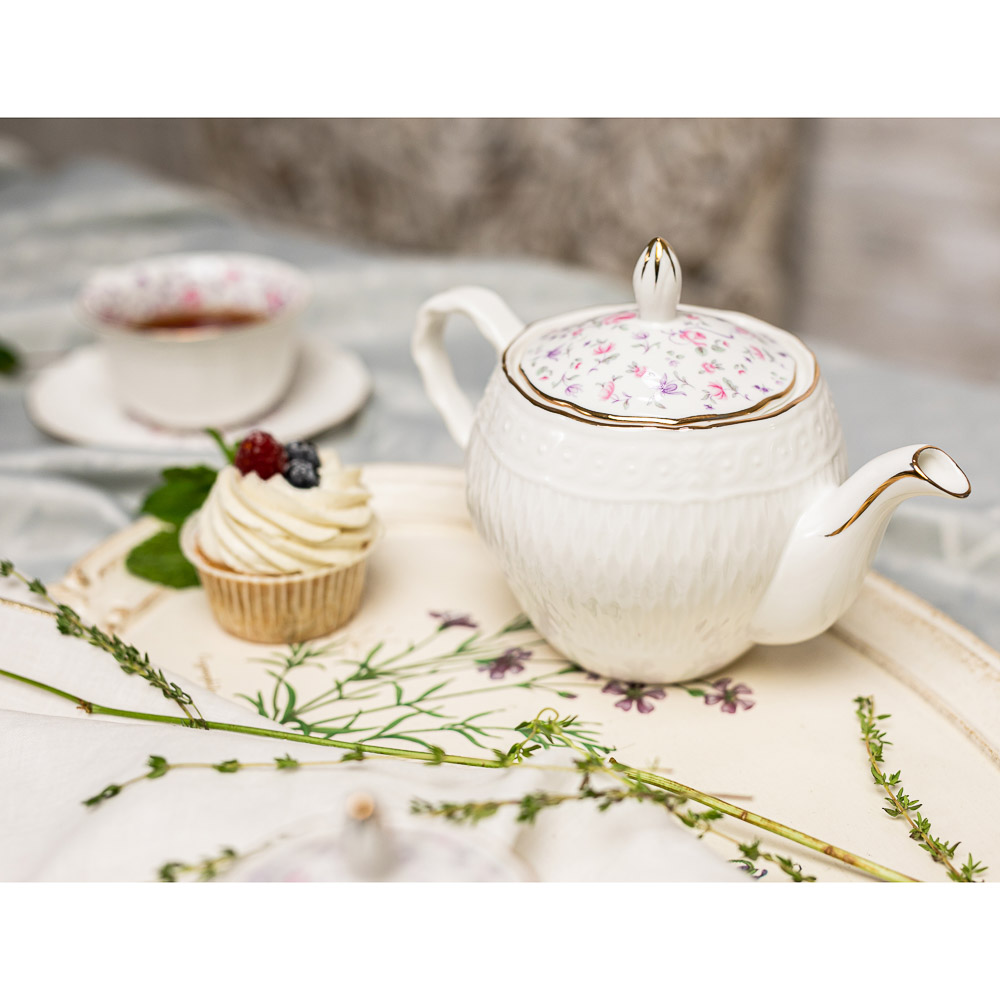 MILLIMI Пастораль Набор чайный 14 пр., чашка 250мл, чайник 900мл, сахарница 280 мл, кост. фрф - 7