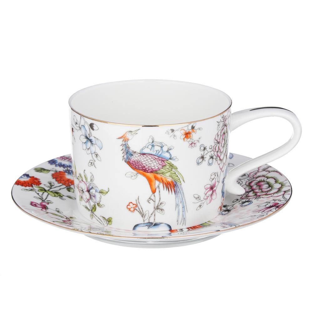 MILLIMI Райская птица Набор чайный 14 пр., чашка 270мл, чайник 1150мл, сахарница 450мл, кост. фрф - 2