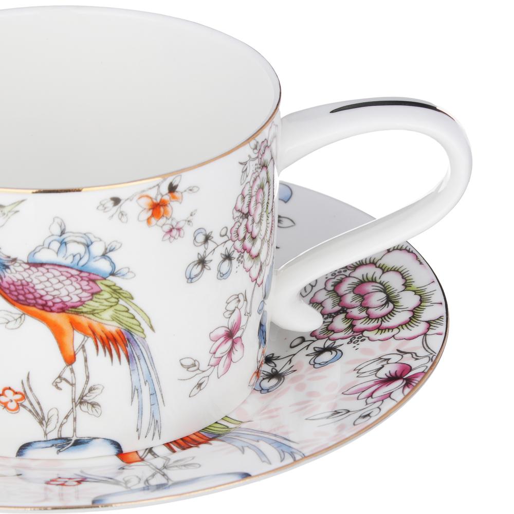 MILLIMI Райская птица Набор чайный 14 пр., чашка 270мл, чайник 1150мл, сахарница 450мл, кост. фрф - 3