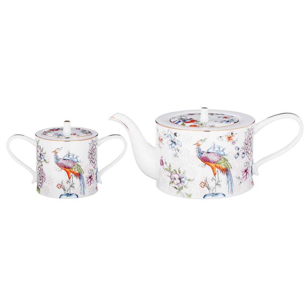 MILLIMI Райская птица Набор чайный 14 пр., чашка 270мл, чайник 1150мл, сахарница 450мл, кост. фрф - 4